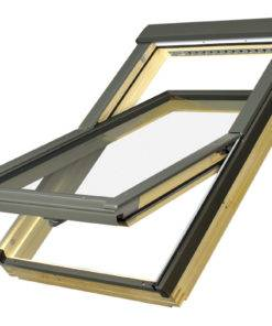 Drewniane okno połaciowe FAKRO FTP-V z nawiewnikiem rama + skrzydło