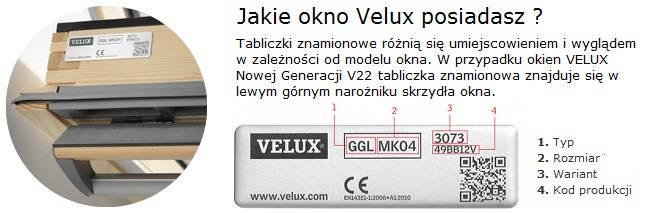 tabliczka znamionowa velux