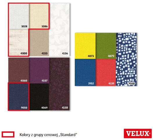 kolory rolety dekoracyjnej velux rfl